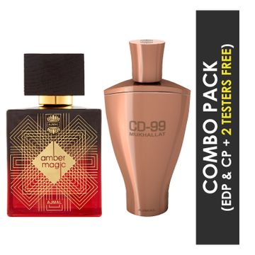 Ajmal | Ajmal Amber Magic EDP Spicy Aromatic Perfume 100ml for Men and CD 99 Mukhallat Concentrated Perfume Oil Floral Oriental Alcohol-free Attar 14ml for Unisex + 2 Parfum Testers FREE