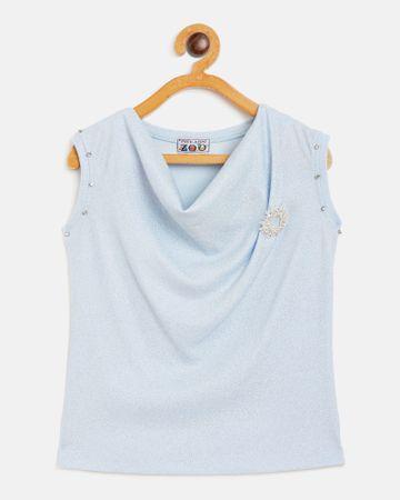 Peek a boo zoo   Peek a boo zoo Girls Blue Polyester Lurex Blend Cowl Neck Textured Sleeveless Partywear Top