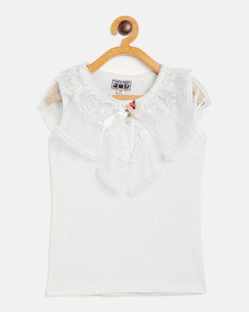 Peek a boo zoo | Peek a boo zoo Girls Cream Cotton Lycra Blend Round Neck Textured Sleeveless Partywear Top