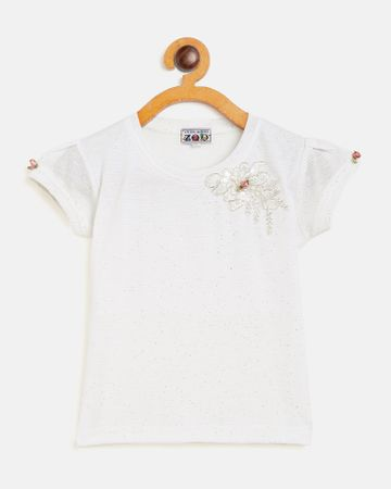 Peek a boo zoo | Peek a boo zoo Girls Cream Polycotton Round Neck Solid Cap Sleeve Partywear Top