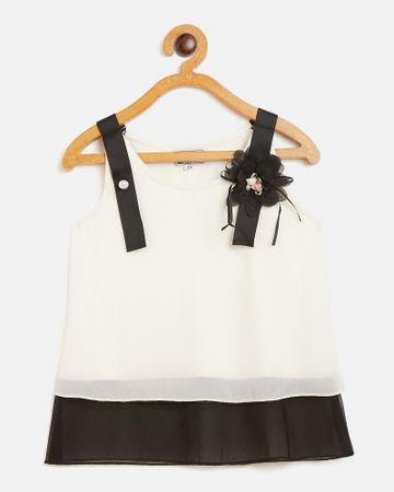 Peek a boo zoo | Peek a boo zoo Girls Cream and Black Georgette Round Neck Colourblocked Sleeveless Partywear Top