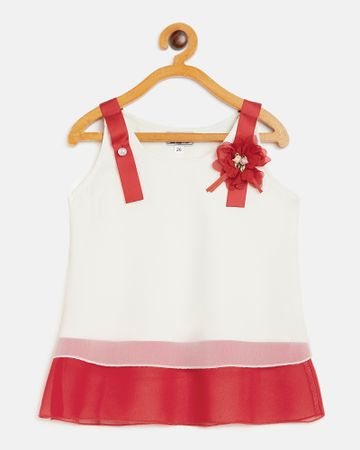 Peek a boo zoo | Peek a boo zoo Girls Cream and Red Georgette Round Neck Colourblocked Sleeveless Partywear Top