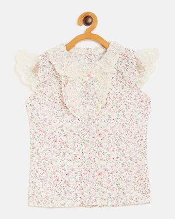 Peek a boo zoo | Peek a boo zoo Girls Cream Pure Cotton Ruffled Neck Floral Print Flutter Sleeves Casual/Partywear Top