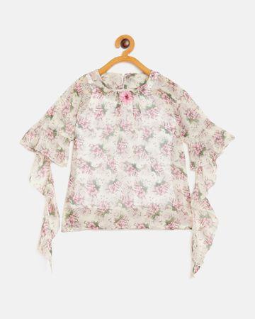 Peek a boo zoo | Peek a boo zoo Girls Purple Georgette Round Neck Floral Print Cape Sleeve Casual/Partywear Top