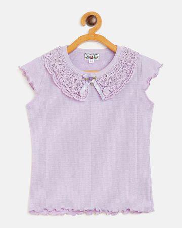 Peek a boo zoo | Peek a boo zoo Girls Purple Hosiery Round Neck Textured Cap Sleeve Casual/Partywear Top