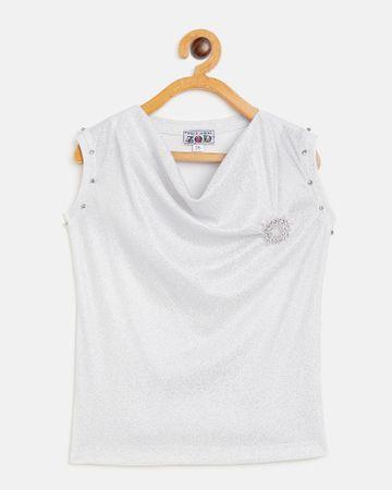 Peek a boo zoo | Peek a boo zoo Girls Silver Polyester Lurex Blend Cowl Neck Textured Sleeveless Partywear Top