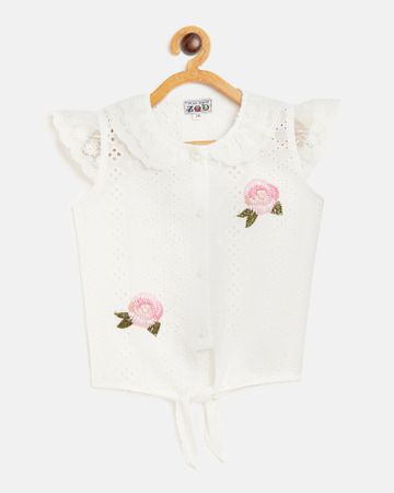 Peek a boo zoo | Peek a boo zoo Girls White Pure Cotton Collared Neck Perforations Cap Sleeve Casual/Partywear Top
