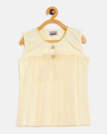 Peek a boo zoo | Peek a boo zoo Girls Yellow Blanket stitched Round Neck Textured Sleeveless Casual/Partywear Top
