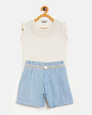Peek a boo zoo   Peek a boo zoo Girls Gold and Blue Polyester Lurex Blend Round Neck Pearls Sleeveless Partywear top and Shorts Twin /Combo Set