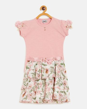 Peek a boo zoo | Peek a boo zoo Girls Peach Cotton Lycra Blend Round Neck Solid Cap Sleeve Casual/Partywear top and skirt Twin /Combo Set