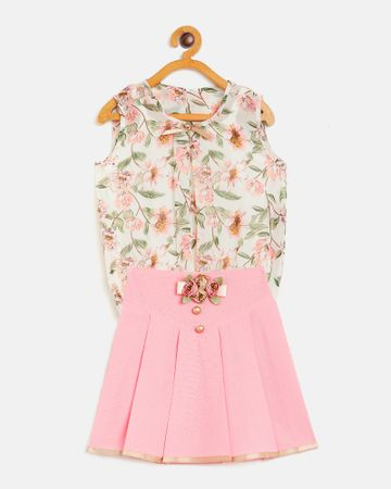 Peek a boo zoo | Peek a boo zoo Girls Peach Georgette Round Neck Floral Print Sleeveless Casual/Partywear top and skirt Twin /Combo Set