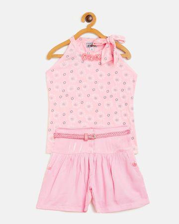 Peek a boo zoo | Peek a boo zoo Girls Peach Hosiery Wrap Neck Floral Print Sleeveless Casual/Partywear top and Shorts Twin /Combo Set