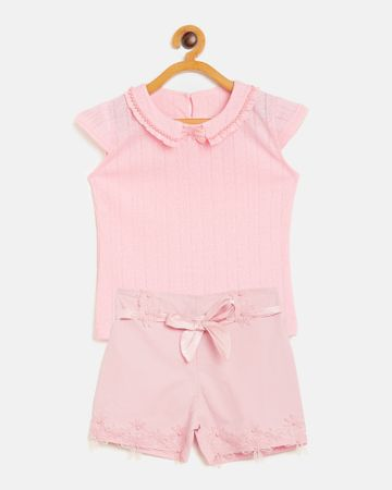 Peek a boo zoo | Peek a boo zoo Girls Peach Hosiery Round Neck Solid Cap Sleeve Casual/Partywear top and Shorts Twin /Combo Set