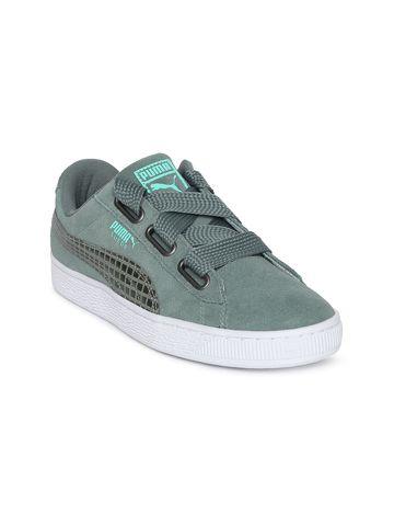 Puma | Puma Women Olive Green Suede Heart Street 2 Sneakers