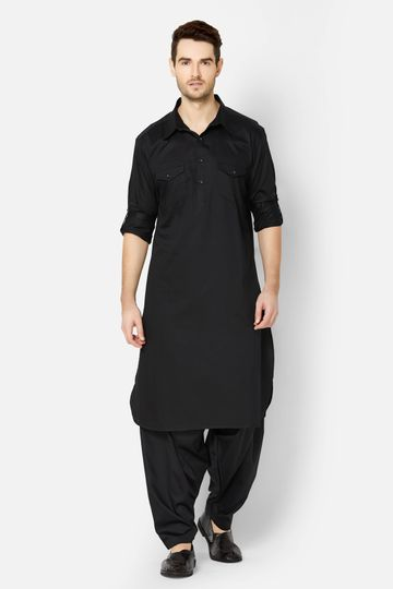 Ethnicity | Black Cotton pathani kurta set