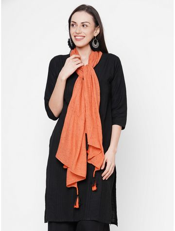 Get Wrapped | Get Wrapped Orange Viscose Rayon Self Design Scarf with Tasselled Border