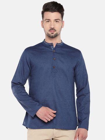 Ethnicity | Ethnicity Blue Cotton Flax Men Kurta