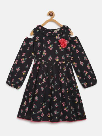 Bellamoda | Bella Moda A line, Fit & Flair, Casual Dress, For Girls, Black, 7 - 8 Years