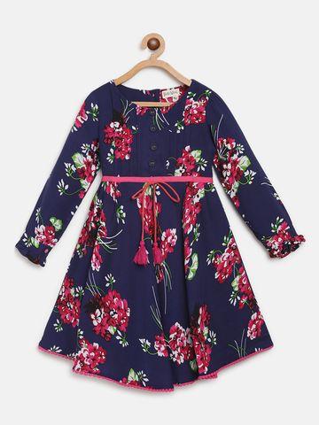 Bellamoda | Bella Moda A line, Fit & Flair, Casual Dress, For Girls, Blue,4 - 5 Years