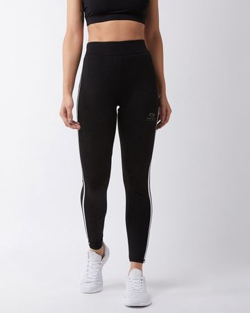 Masch Sports | Masch Sports Women's Black Solid Sports Tights with White Side Stripe