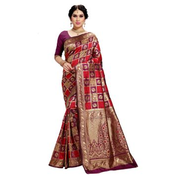 POONAM TEXTILE | Women's Checkered Woven Banarasi Art Silk Saree (Purple)