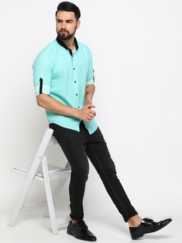 Showoff | SHOWOFF Men's Linen Green Checks Shirt