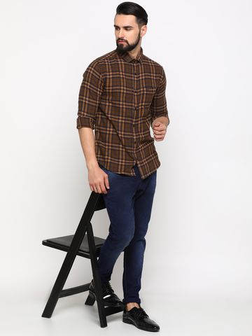 Showoff | SHOWOFF Men's Cotton Brown Checks Shirt
