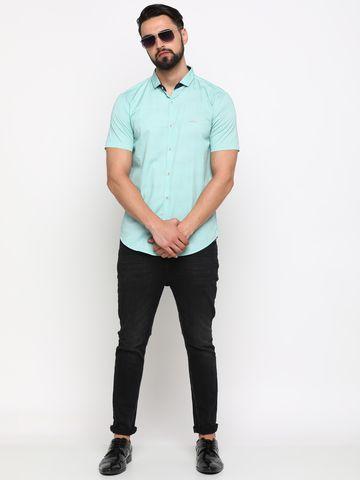 Showoff | SHOWOFF Men's Cotton Green Printed Shirt