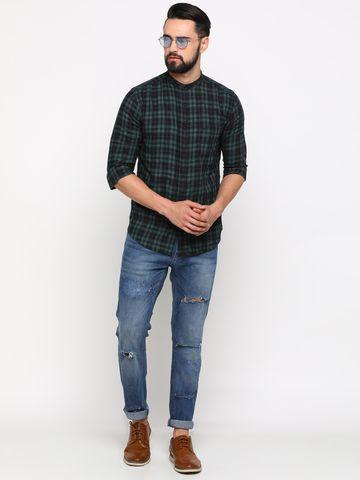 Showoff | SHOWOFF Men's Cotton Green Checks Shirt