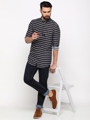 Showoff | SHOWOFF Men's Cotton IndigoBlue Striped Shirt