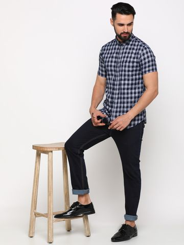 Showoff | SHOWOFF Men's Cotton NavyBlue Checks Shirt