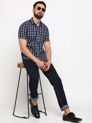 Showoff | SHOWOFF Men's Cotton Blue Checks Shirt