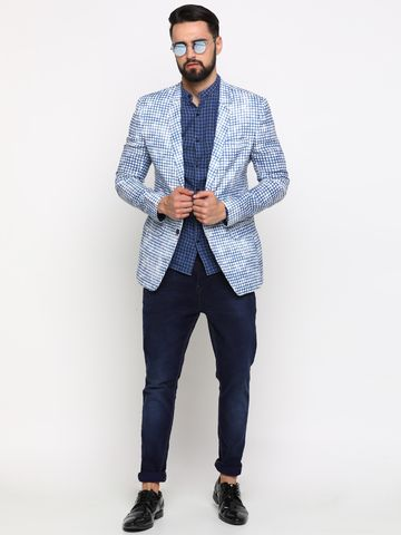 Showoff | Showoff Men's Cotton Checked Slim Casual Blazers
