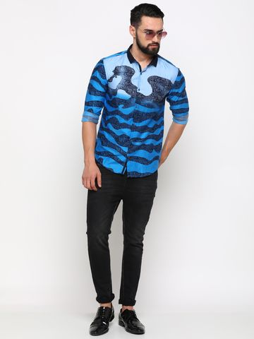 Showoff | SHOWOFF Men's Cotton Blue Printed Shirt