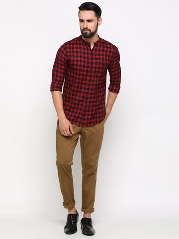 Showoff | SHOWOFF Men's Cotton Red Checks Shirt