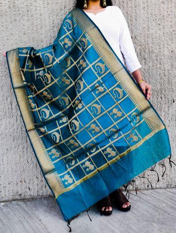 Shri   Shri women's Rama Banarasi Silk Designer Full Length Dupatta