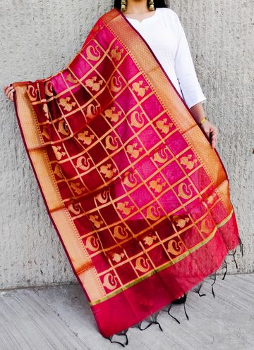 Shri | Shri women's Red Banarasi Silk Designer Full Length Dupatta