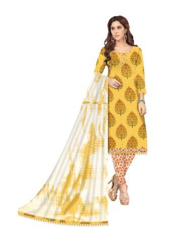 Shri | Shri Women's Pure Cotton Kalamkari Printed Unstitched Dress Materials(Yellow)