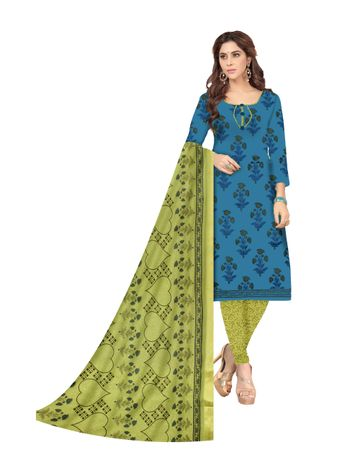 Shri | Shri Women's Pure Cotton Block Printed Designer Unstitched Dress Materials (Blue)