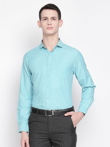 SOLEMIO | Blue Solid Formal Shirt