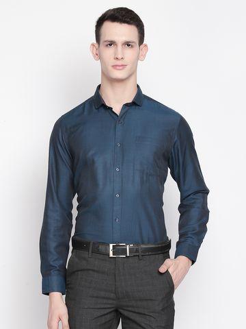 SOLEMIO | Navy Blue Solid Formal Shirt