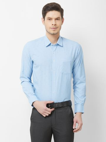 SOLEMIO | Blue Printed Formal Shirt