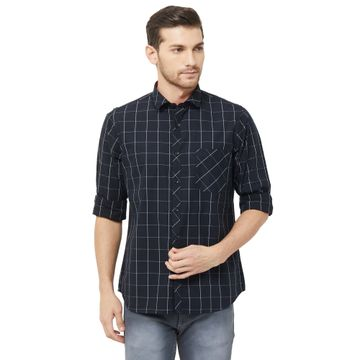 SOLEMIO | Black Checks Casual Shirt