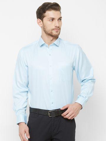 SOLEMIO | Blue Solid Formal Shirt