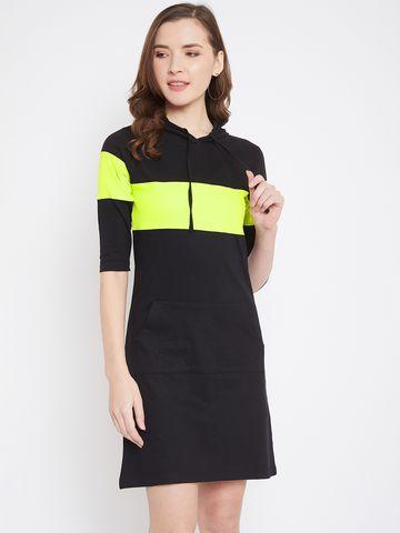 Jhankhi | Black Colorblocked Shift Dress Hooded neck
