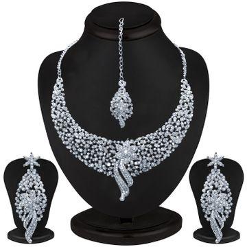 SUKKHI | Sukkhi Glimmery Rhodium Plated Austrian Diamond Choker Necklace Set for Women