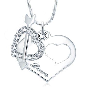 SUKKHI | Sukkhi Stylish Rhodium Plated Austrian Crystal Valentine Heart Pendant With Chain