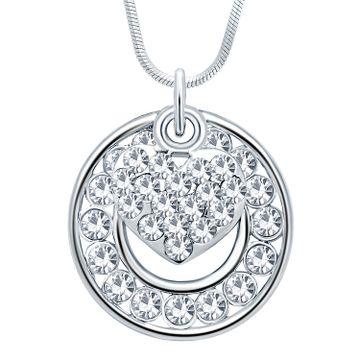SUKKHI | Sukkhi Astonish Rhodium Plated Austrian Crystal Valentine Heart Pendant With Chain