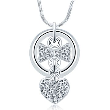 SUKKHI | Sukkhi Pleasing Rhodium Plated Austrian Crystal Valentine Heart Pendant With Chain