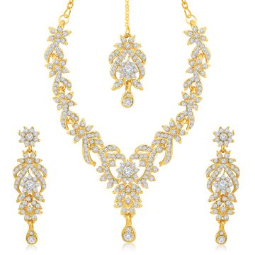 SUKKHI | Sukkhi Trendy Gold Plated Austrian Diamond Necklace Set for Women